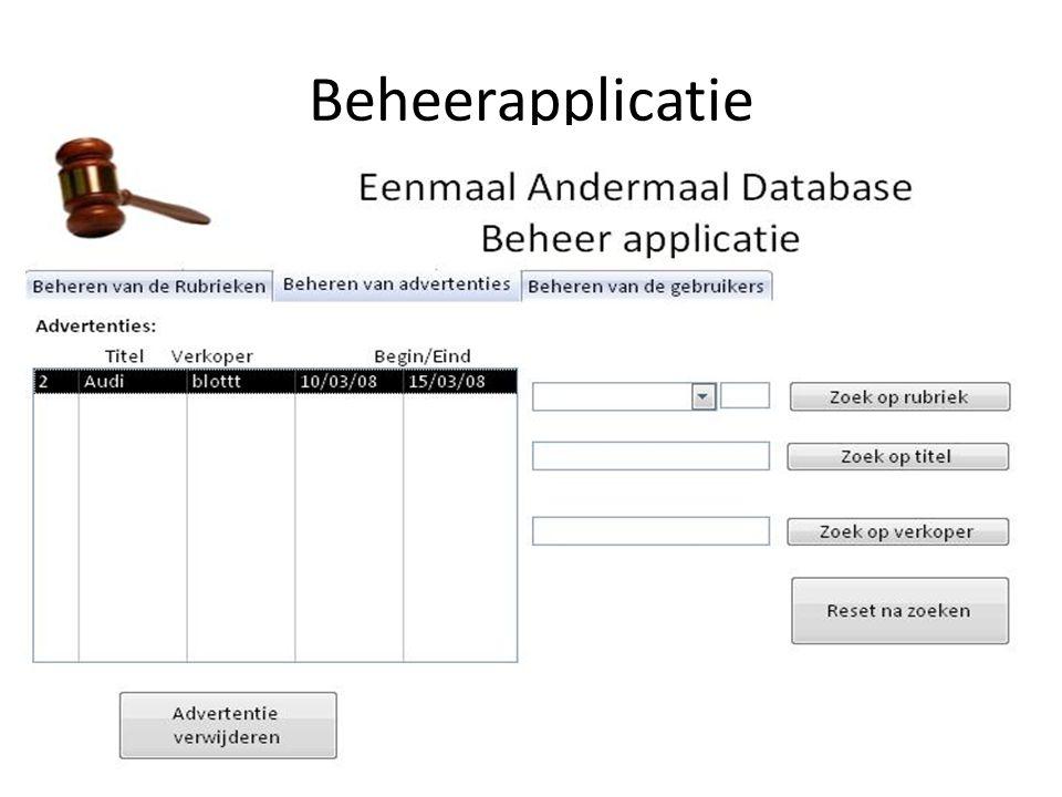 • Gebruikers beheren – Systeem toont lijst met ingevoerde gebruikers.