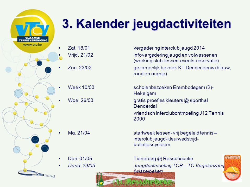 3.Kalender jeugdactiviteiten •Ma. 09/06gezamelijk bezoek KT en TT Vogelenzang Lede •Zat.