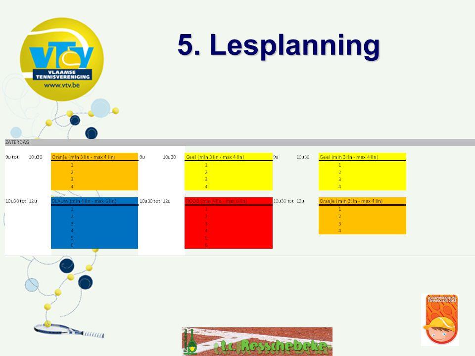 •start week van 21 april 2013 •8 lessen per kleur per tijdstip •Lestijd 1,5u (0,5u co/co-training) behalve kleutertennis (wit) •2 sessies per kleur (woensdagnamiddag of zaterdagvoormiddag) •Interclubspelers op zondagmorgen
