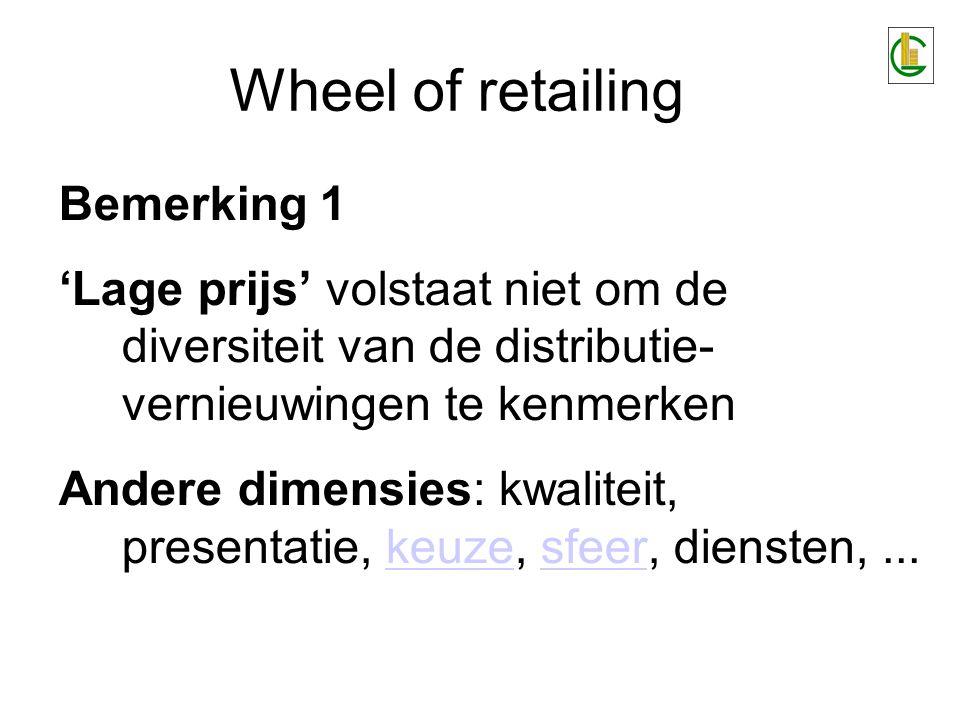 Wheel of retailing Bemerking 2 De toename van de exploitatiekosten tijdens de opmars van de onderkant naar de bovenkant zijn vermijdelijk.vermijdelijk