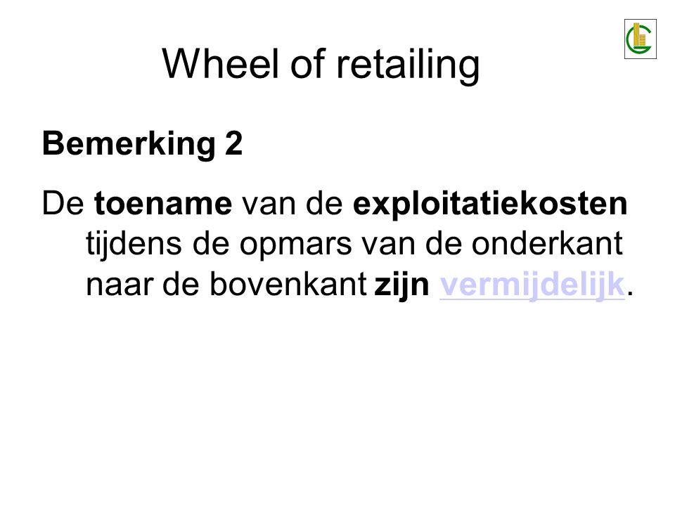 Wheel of retailing Bemerking 3 De mogelijkheid bestaat om te streven naar compensatie tussen distributieformules in de verschillende ontwikkelingstadia (lancerings-, groei- en mature fase) van de distributiestructuurcompensatie tussen distributieformules