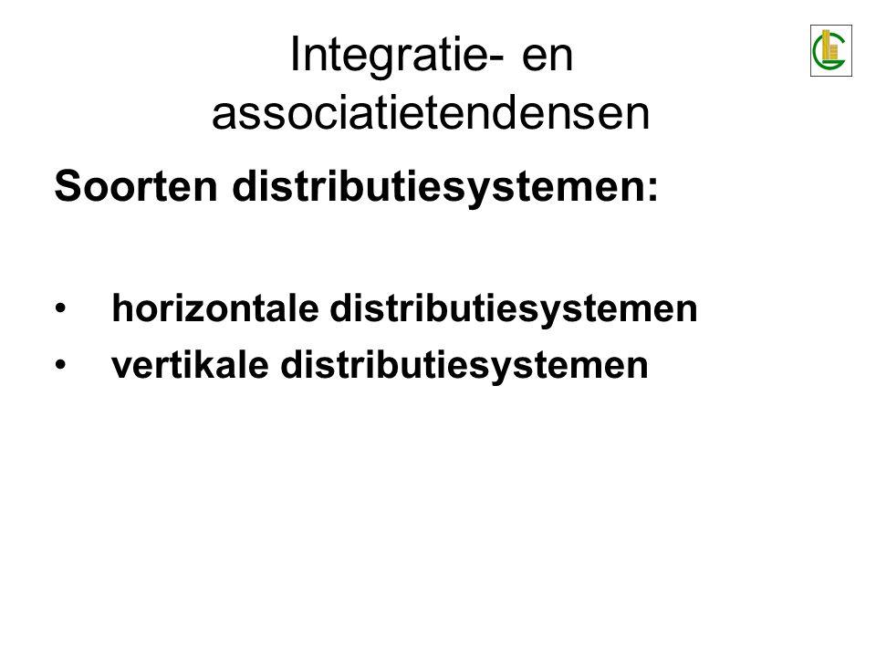Integratie- en associatietendensen Horizontale distributiesystemen = de neiging van 2 of meer organisaties om overeenkomsten te sluiten om markt- gelegenheden aan te pakken.