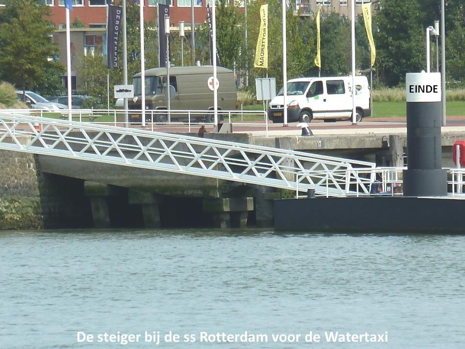 De steiger bij de ss Rotterdam voor de Watertaxi EINDE