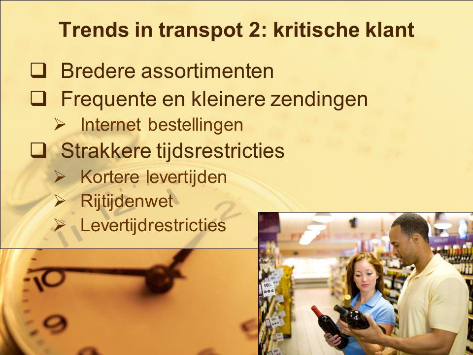 5/19 Trends in transport 3: druk op efficiëntie  Milieu maatregelen  Concurrentie