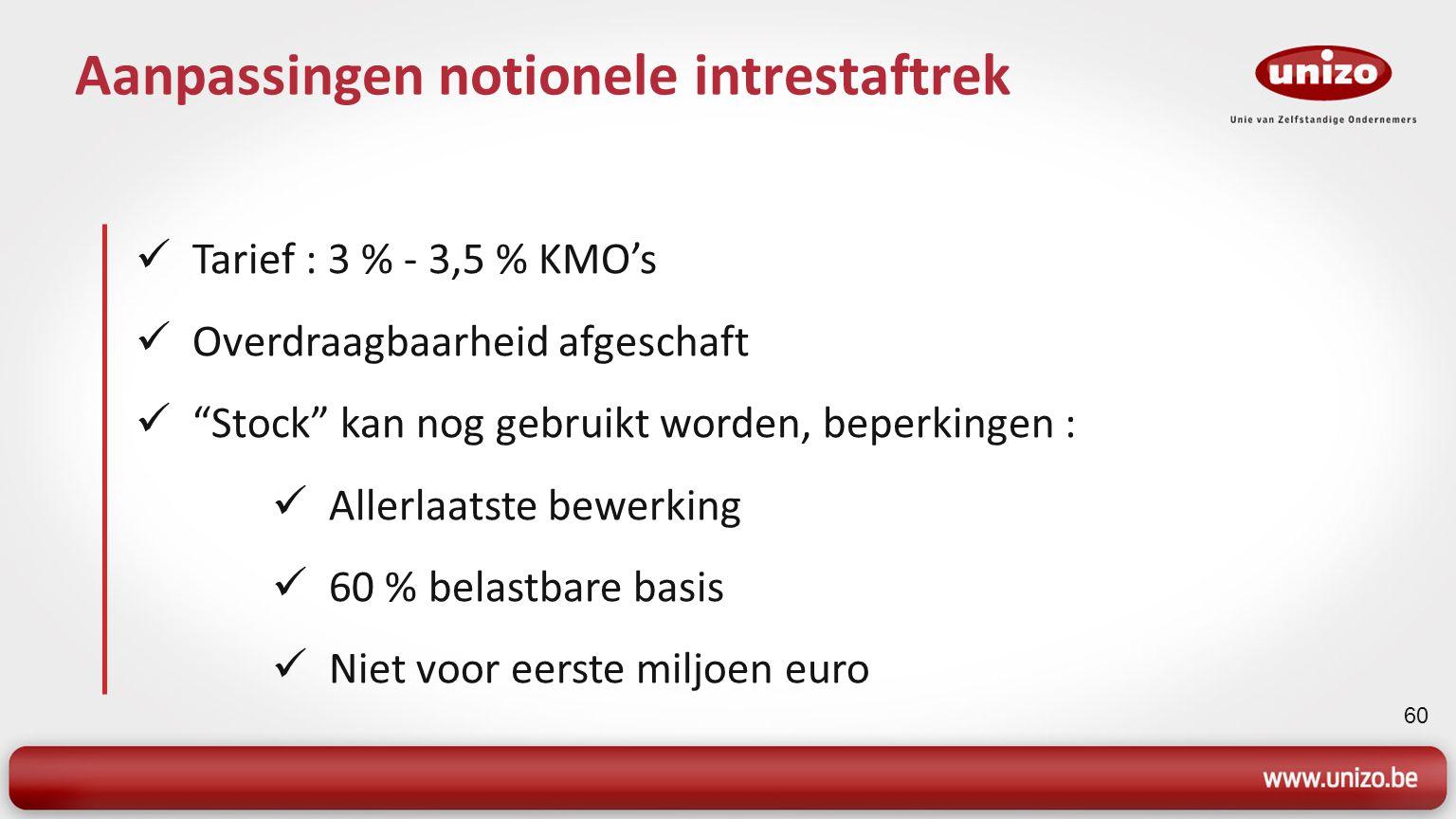 61 Terbeschikkingstelling woning Voordeel verwarming en elektriciteit verhoogd 1.820 en 910 euro Jaarlijkse indexatie Voordeel woning KI > 745 euro : 100/60 x KI x 3,8