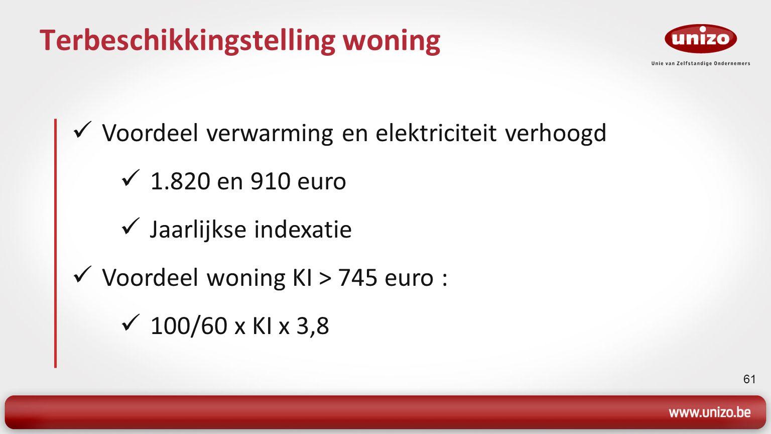 62 Bedrijfswagens Huidig voordeel : Benzine : 5.000 / 7.500 x CO2 x 0,00216 Diesel : 5.000 / 7.500 x CO2 x 0,00237 Minimum : 0,10 euro per kilometer Nieuwe systeem vanaf 1 januari 2012: (Cataloguswaarde x leeftijdscoëfficiënt) x (% volgens CO2) x 6/7