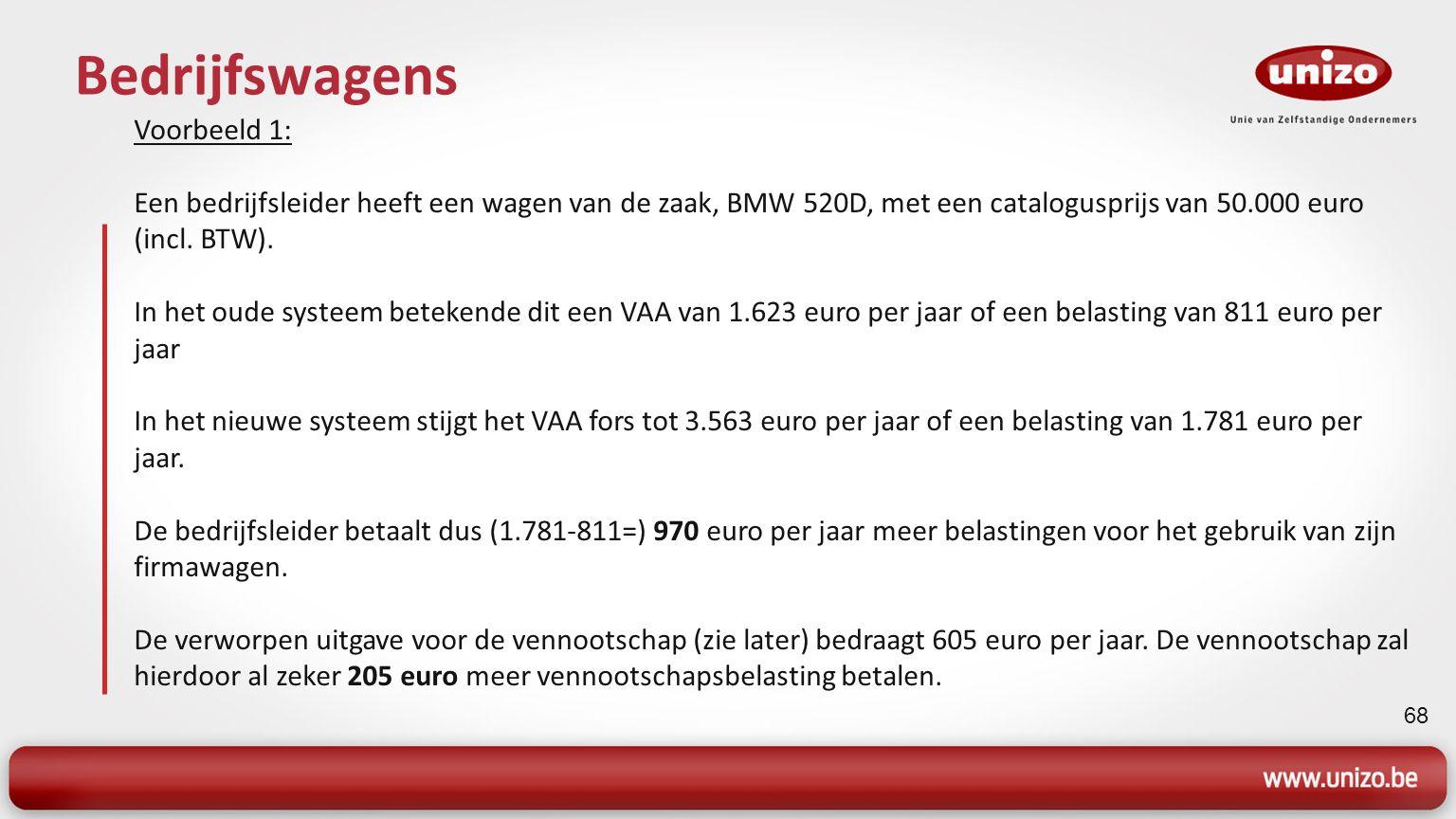 69 Bedrijfswagens Voorbeeld 2: Een bedrijfsleider heeft een wagen van de zaak, BMW 730D, met een catalogusprijs van 85.000 euro (incl.
