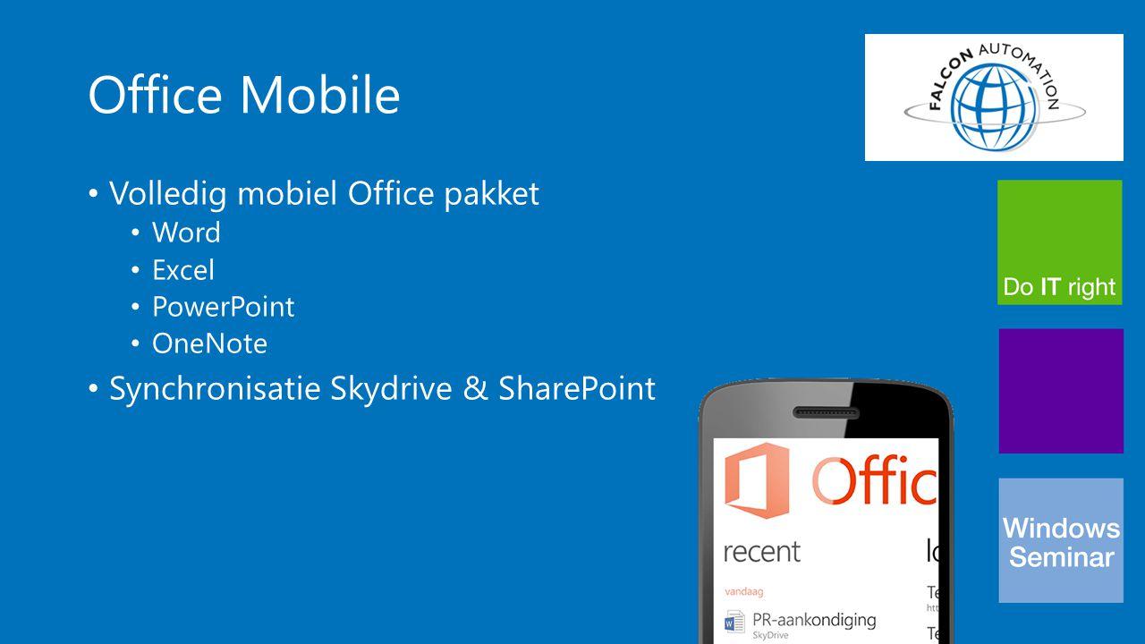 Business ready Volledig geïntegreerd met Office 365 De enige telefoon met SharePoint Workspace Mobile Werkt met elke Exchange server Klaar voor gebruik met Lync