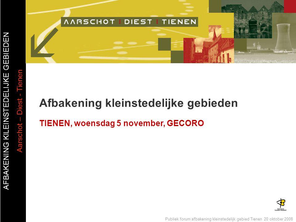 AFBAKENING KlLEINSTEDELIJKE GEBIEDEN Aarschot – Diest - Tienen Publiek forum afbakening kleinstedelijk gebied Tienen 20 oktober 2008 Agenda  Afbakenen: Wat is het.