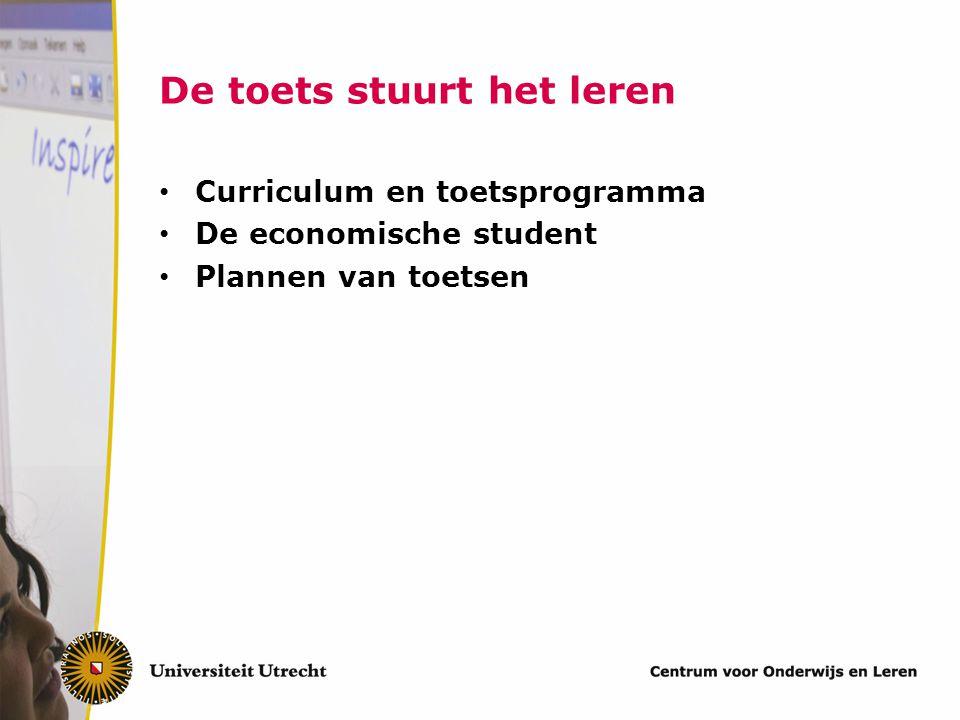De toets stuurt het leren Van der Vleuten, Dolmans, Scherpbier, 2000
