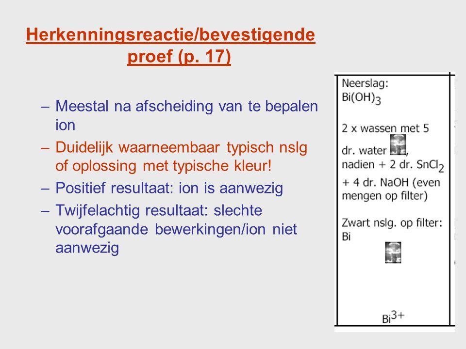 Gebruik van het recept p.19 : opsporen NH 4 + p. 20 : scheiding in hoofdgroepen p.