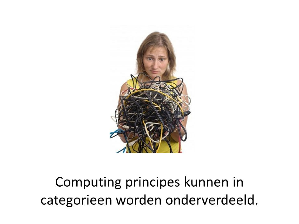 De 7 categorieen van computing 1.Computation 2.Communication 3.Coordination 4.Recollection 5.Automation 6.Evaluation 7.Design