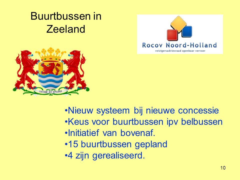 11 Buurtbussen in Noord-Holland 10 buurtbussen Nieuw materieel Toenemende regie van de provincie