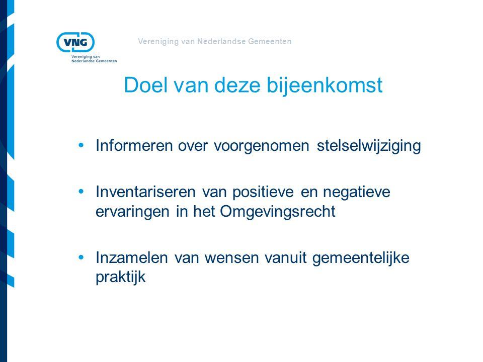 Vereniging van Nederlandse Gemeenten Problemen in het omgevingsrecht  Regelgeving is complex en versnipperd  Uitvoerbaarheid van regelgeving sluit niet aan bij de dynamische praktijk