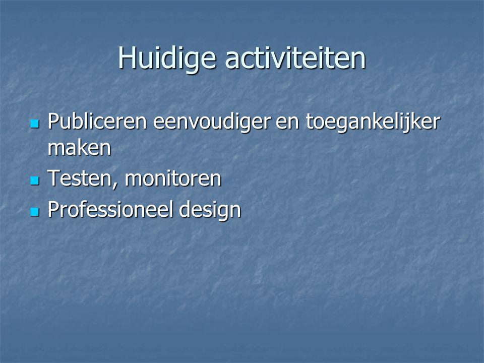 Huidige activiteiten Publiceren eenvoudiger en toegankelijker maken Publiceren eenvoudiger en toegankelijker maken Testen, monitoren Testen, monitoren Professioneel design Professioneel design