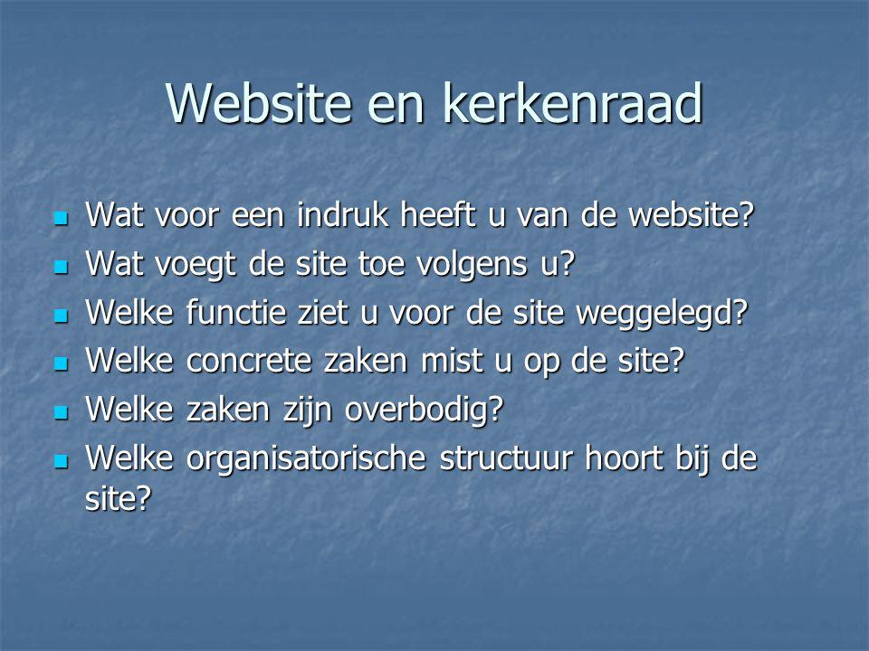 Website en kerkenraad Wat voor een indruk heeft u van de website.