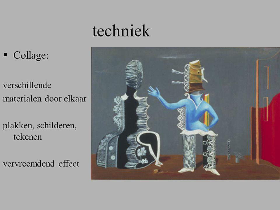 techniek  Frottage (rubbing): ondergrond met textuur, afwrijven met zwart krijt op wit papier of andersom fantasievolle structuren vervreemdend effect,  Frottage (rubbing): ondergrond met textuur, afwrijven met zwart krijt op wit papier of andersom fantasievolle structuren vervreemdend effect,
