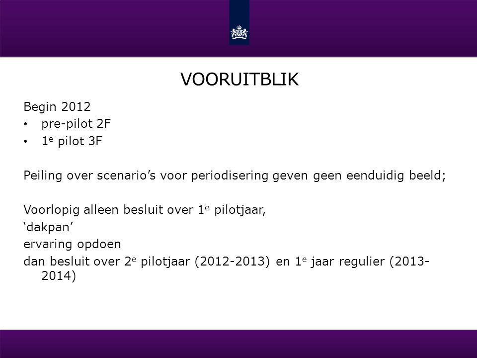 WANNEER Week 3Week 4Week 5Week 6 Pre-pilot 2F Rekenen 3F Taal 3F 2 e periode: Week 23 en 24 (vanaf 04-06 t/m 16-06): rekenen 3F Week 24 en 25 (vanaf 11-06 t/m 23-06): Nederlandse taal 3F 1 e periode: