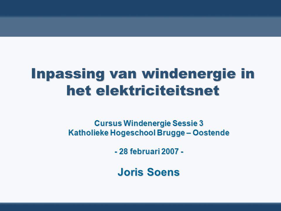 2/90 DEEL I: ELEKTROTECHNISCHE ASPECTEN VAN WINDENERGIE  Verspreide generatie ( Distributed Generation ) = Ingebedde Generatie ( Embedded Generation )  Windenergie: basistypes windturbines DEEL II: WINDENERGIE: OPBRENGSTEN EN WAARDE  Overheidssteun: groenestroomcertificaten in Vlaanderen  Waarde van windenergie Inpassing van windenergie in het elektriciteitsnet: inhoud