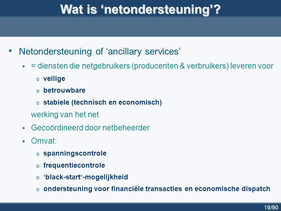 20/90 Enkele netbeheerders in Europa met specifieke richtlijnen voor netondersteuning door gedecentraliseerde productie-eenheden Energinet.dk (Denemarken) http://www.energinet.dk http://www.energinet.dk E.ON (deel van Duitsland) http://www.eon-netz.com/ http://www.eon-netz.com/ Svk (Zweden) www.svk.se www.svk.se ESBNG (Ierland) www.eirgrid.com www.eirgrid.com Scottish Power (Schotland) www.scottishpower.com www.scottishpower.com