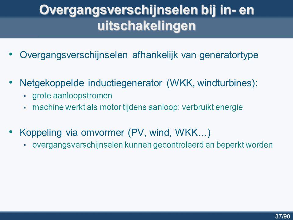 38/90 Voorbeeld: windturbine in distributienet van Haasrode HS-post Heverlee 70kV – 10 kV Windturbine Onderzochte generatortypes voor windturbine: -inductiegenerator met kooirotor (squirrel cage) -dubbelgevoede inductiegenerator