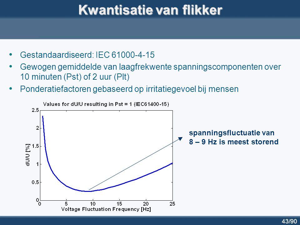 44/90 Flikker en DG Gebruikelijk flikkerniveau op middenspanning:  0.35 Pst  0.25 Plt Plt moet < 1 Impact van gedecentraliseerde generator op flikker wordt gemeten en berekend volgens standaardprocedures  vb voor windturbines: IEC 61400-21