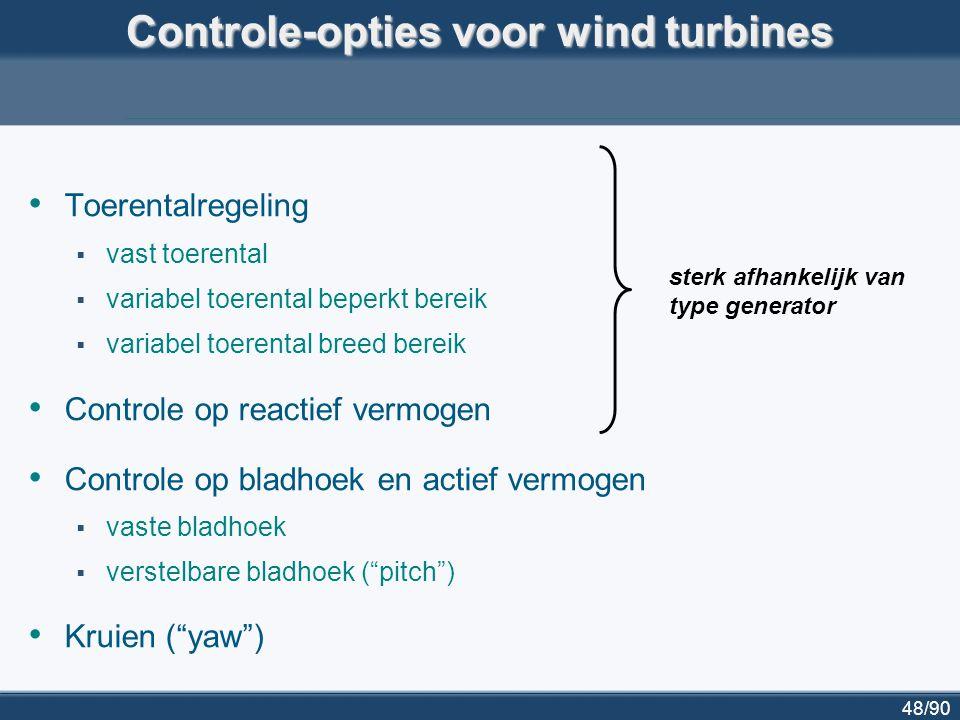 49/90 Generatortypes voor windturbines (I) inductiegenerator met kooirotor  (bijna) constante toerental  altijd inductieve belasting Turbine Net shaft & gearbox wind generator ~