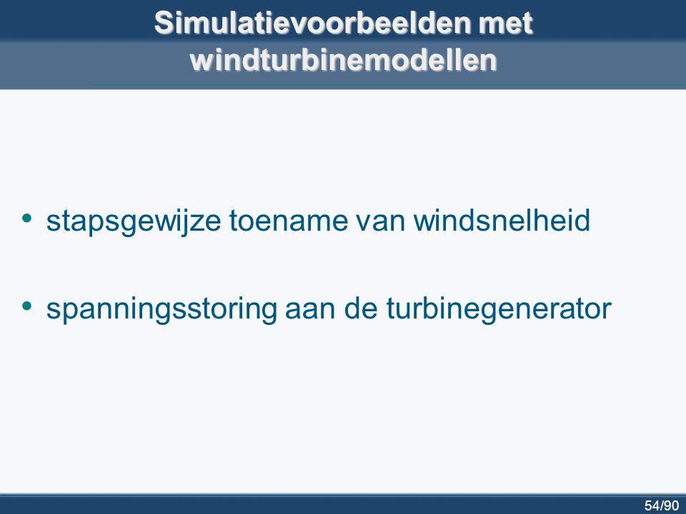 55/90 input voor simulatie: stapsgewijs toenemende windsnelheid wind speed at hub height 400 60080010001200160018002000 10 20 time [s] Simulatievoorbeelden met windturbinemodellen: toename windsnelheid