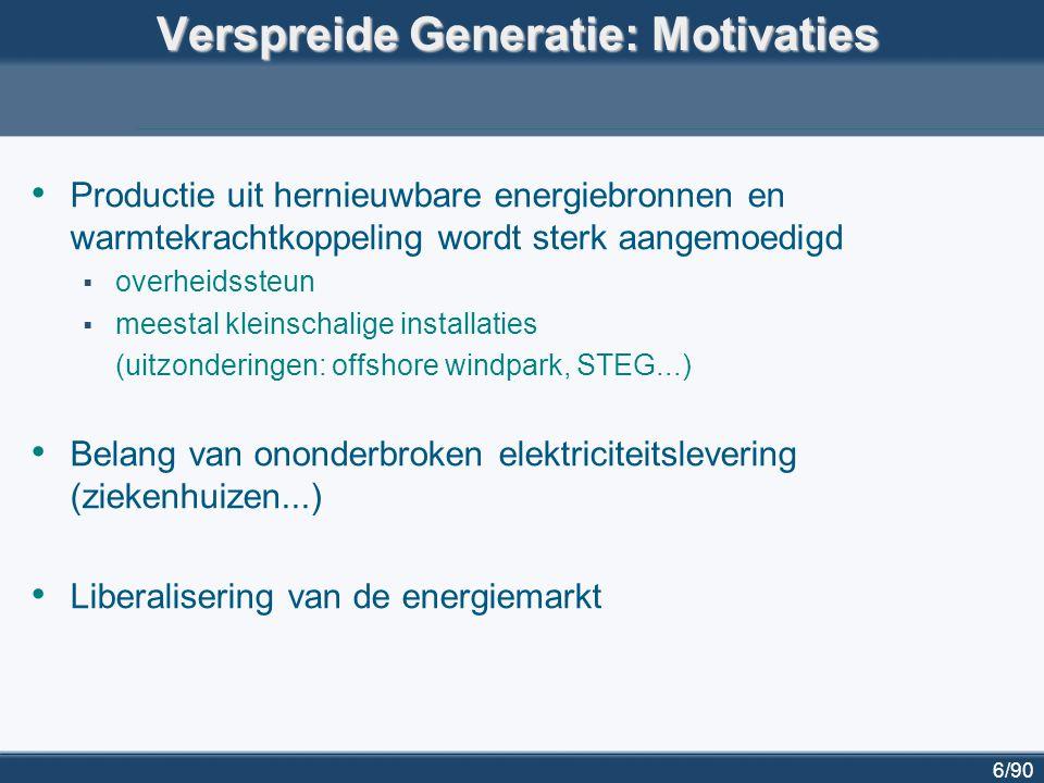 7/90 Verspreide generatie: definities – eigenschappen geen centrale planning geen centrale dispatching netgekoppeld op laag- of middenspanning (ca.
