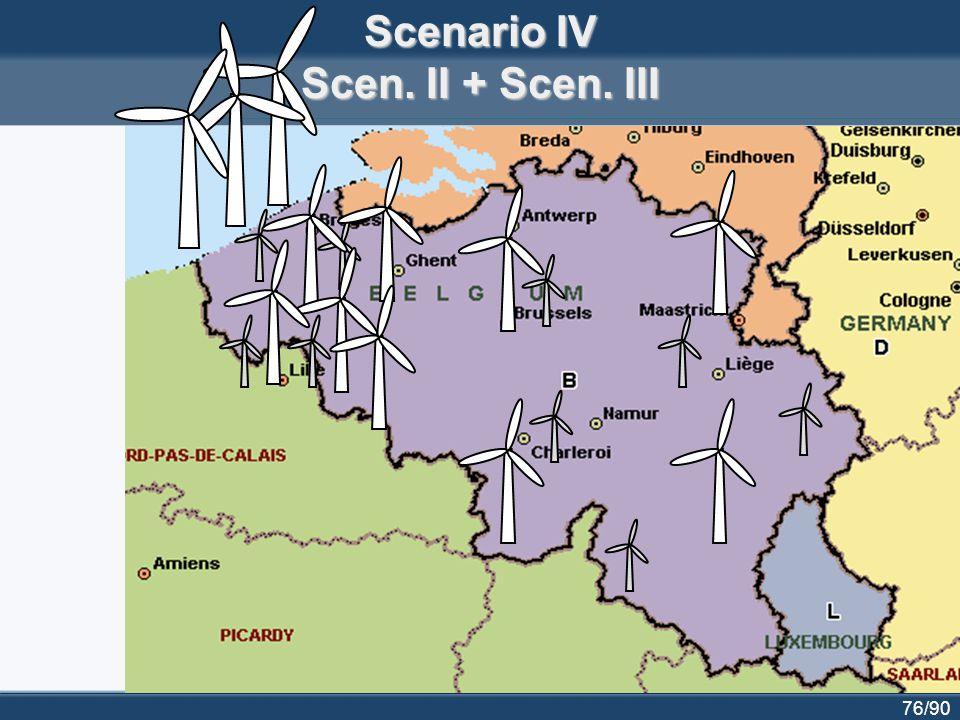 77/90Capaciteitsfactor Voor afzonderlijke windturbines of voor grotere gebieden Belangrijke waardemeter voor projectontwikkelaars, wanneer inkomsten ~ totaal geproduceerde energie capaciteitsfactor = jaarlijkse energieproductie [MWh] geïnstalleerd vermogen [MW] x 8760 [h] Scenario capaciteitsfactor [%] equivalent aantal vollasturen I201752 II262278 III312715 IV292540
