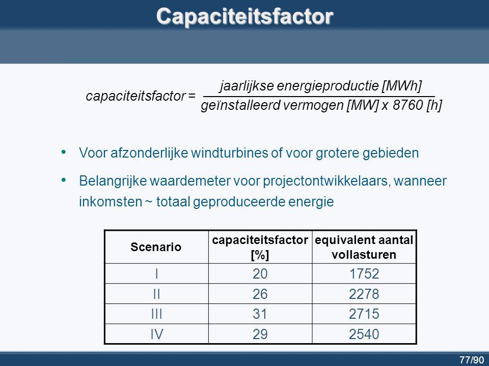 78/90 Capaciteitskrediet: definitie betrouwbare capaciteit de hoeveelheid geïnstalleerde capaciteit in een energiesysteem die met een gegeven betrouwbaarheid ogenblikkelijk beschikbaar is om de totale energievraag te dekken; loss of load probability (LOLP) de waarschijnlijkheid dat de totale energievraag groter is dan de betrouwbare capaciteit; capaciteitskrediet van windenergie de hoeveelheid conventionele generators die kunnen vervangen worden door windturbines, zonder dat de LOLP toeneemt.