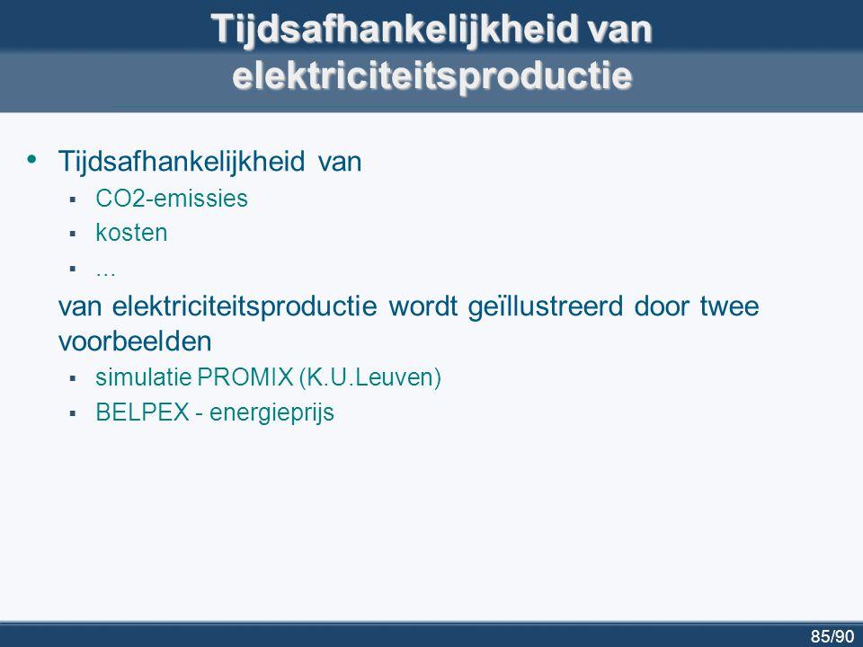 86/90 Gemiddelde elektriciteitsproductie en CO2- emissie in België http://www.mech.kuleuven.be/energy/