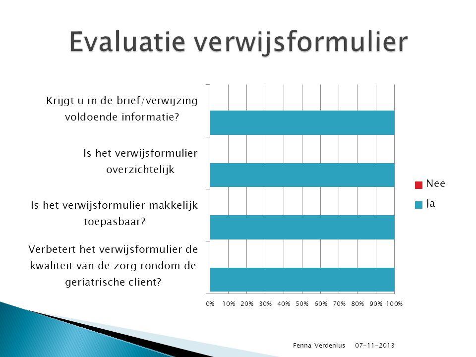  Aanpassing onderzoek fysiotherapeut: ◦ SPPB ◦ Ganganalyse van Nijmegen ◦ Staplengte-schaal ◦ Spierkracht ◦ PSK 07-11-2013 Fenna Verdenius