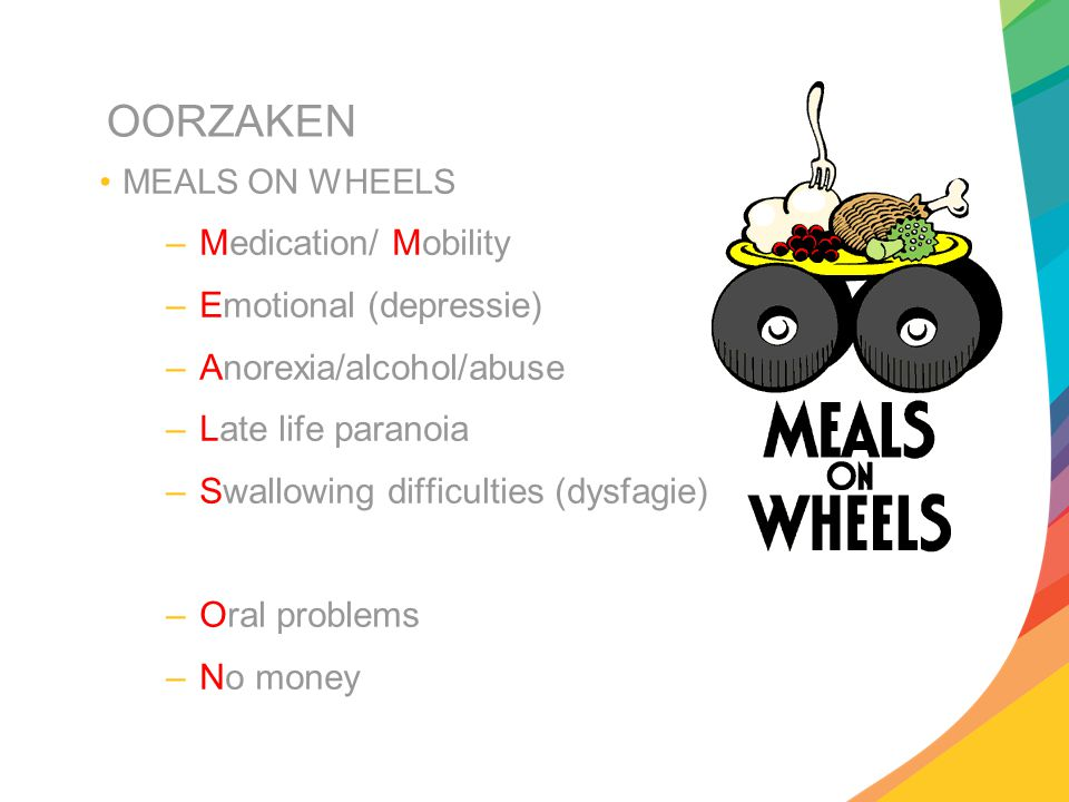 OORZAKEN –Wandering (dementia) –Hyperthyroidism (hypermetabolic disorders) –Enteral problems (malabsorption…) –Eating problems –Low salt, Low-CH, Low protein diets –Shopping en food preparation problems, Stones (gallstones)