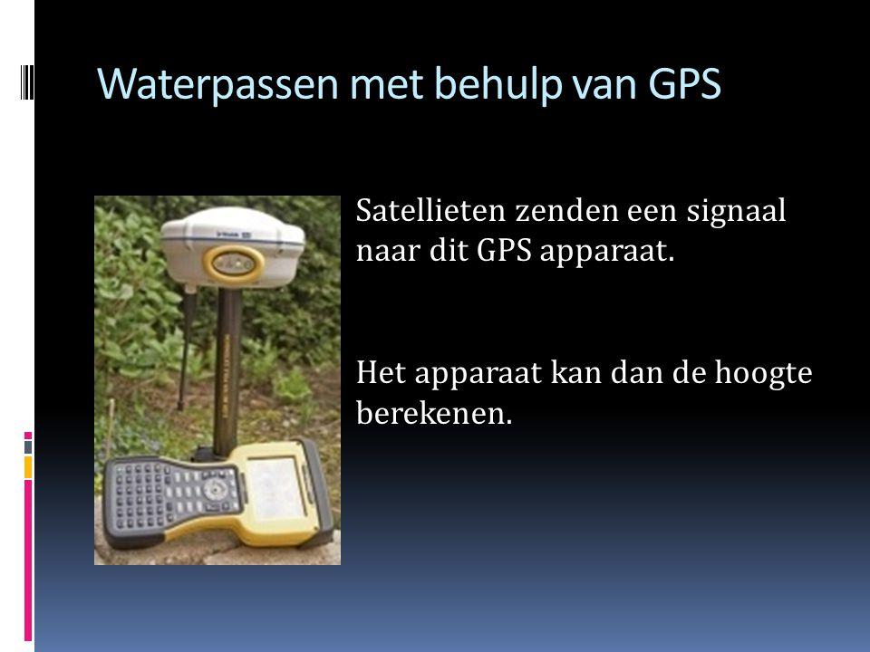 Waterpassen met behulp van GPS Satellieten zenden een signaal naar dit GPS apparaat.