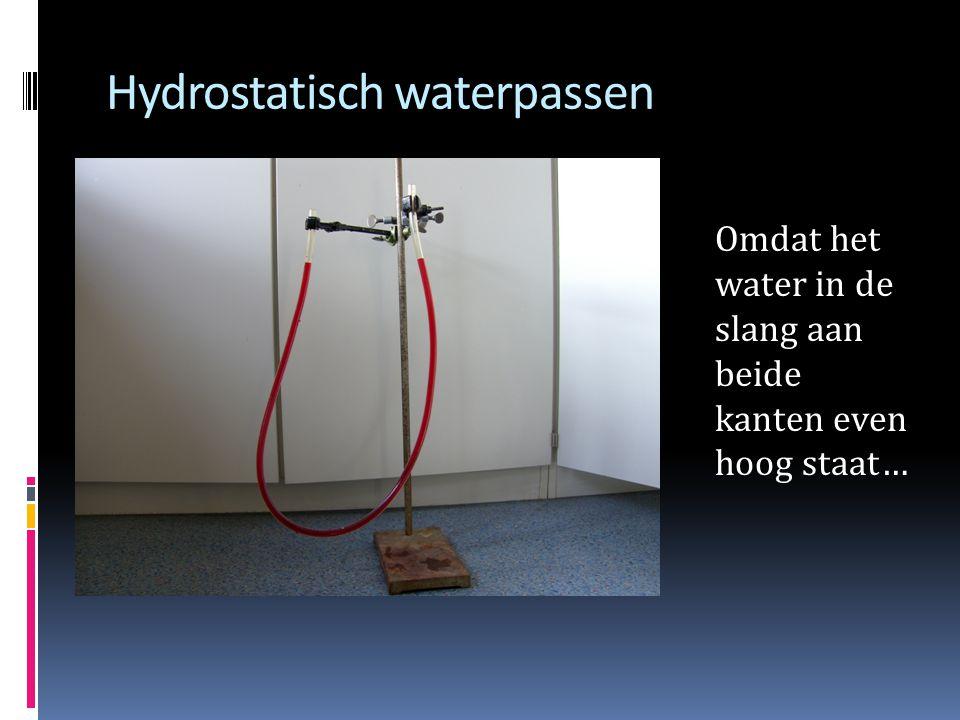 Hydrostatisch waterpassen Omdat het water in de slang aan beide kanten even hoog staat…