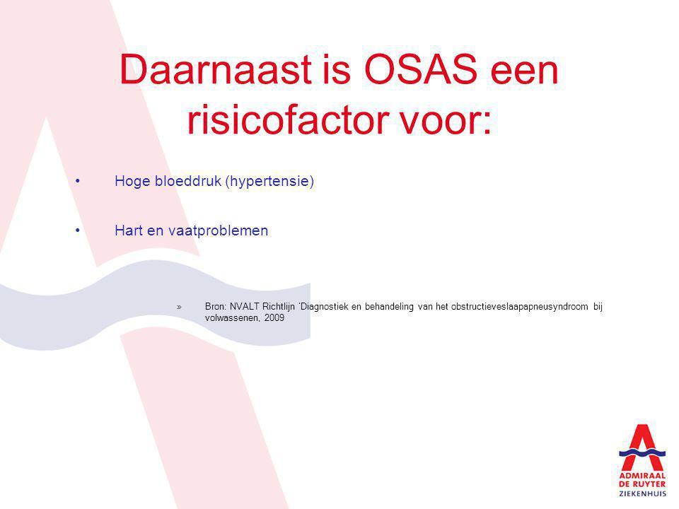 Hoe wordt de ernst van OSAS vastgesteld AHI 5-15: licht OSAS en/of AHI 15-30: matig OSAS AHI >30: ernstig OSAS »Bron: NVALT Richtlijn 'Diagnostiek en behandeling van het obstructieveslaapapneusyndroom bij volwassenen, 2009