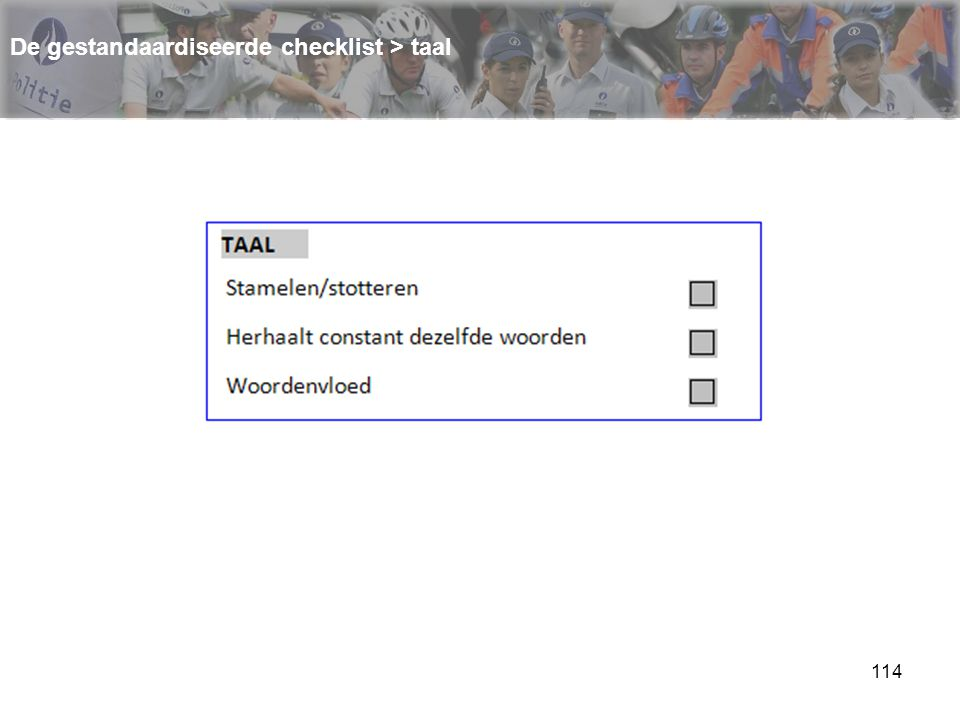115 De gestandaardiseerde checklist > taal