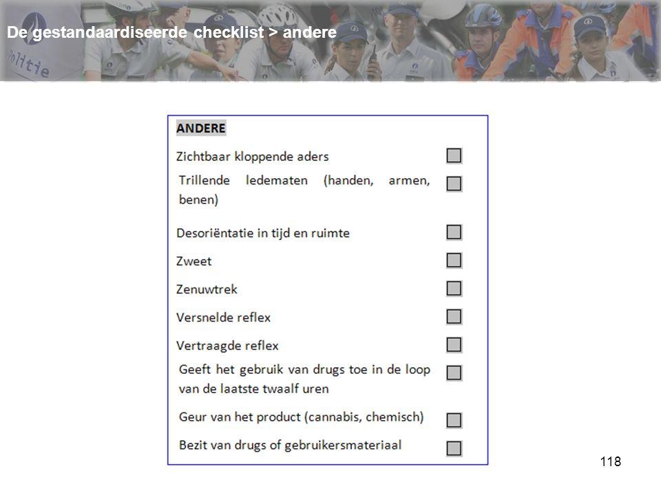 119 De gestandaardiseerde checklist > andere
