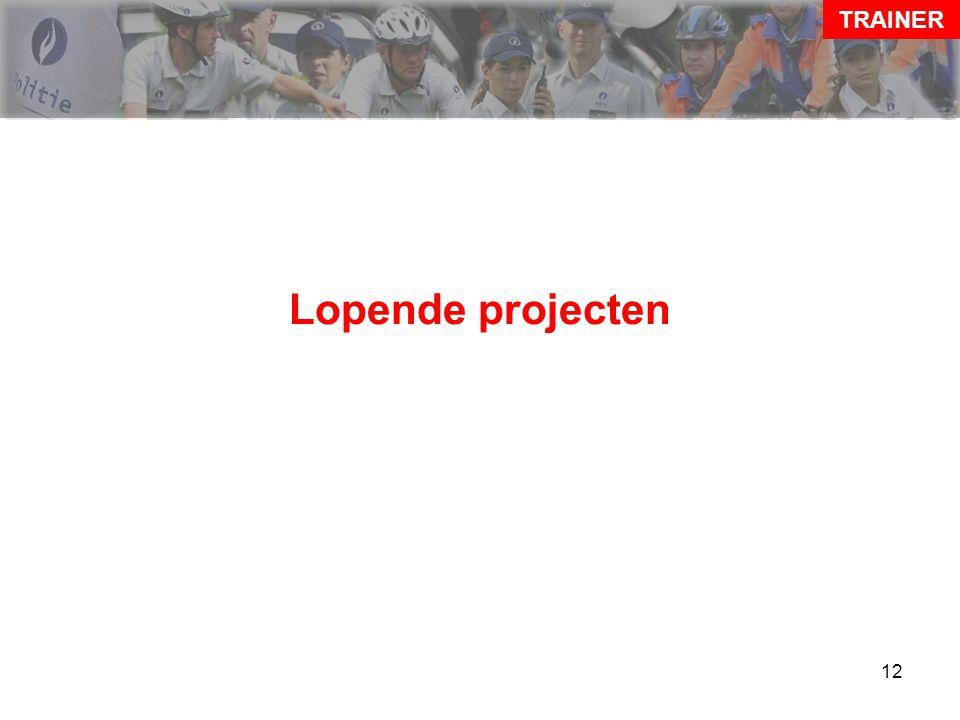 13 Lopende projecten TRAINER