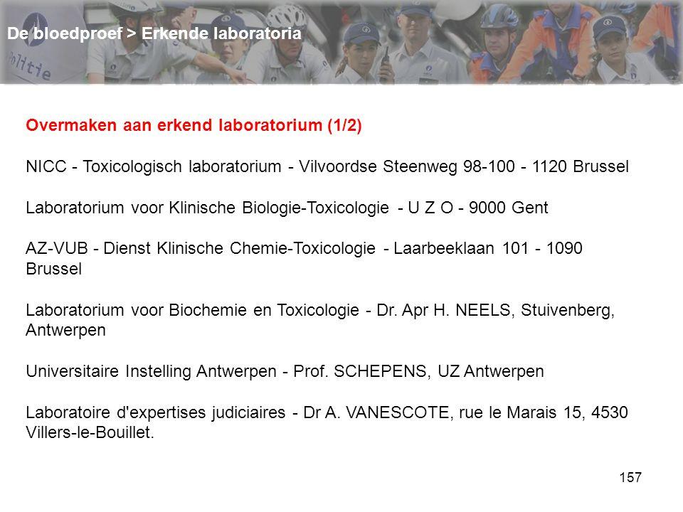 158 De bloedproef > Erkende laboratoria Overmaken aan erkend laboratorium (2/2) Centre hospitalier universitaire de Liège - Service de toxicologie clinique et de toxicologie médico-légale - Professeur CHARLIER - Domaine Universitaire du Sart-Tilman B35 - 4000 Liège 1 Institut provincial d hygiène et de bactériologie du Hainaut - Docteur NOEL - Boulevard Sainctelette 55 - 7000 Mons Iliano - Dr.