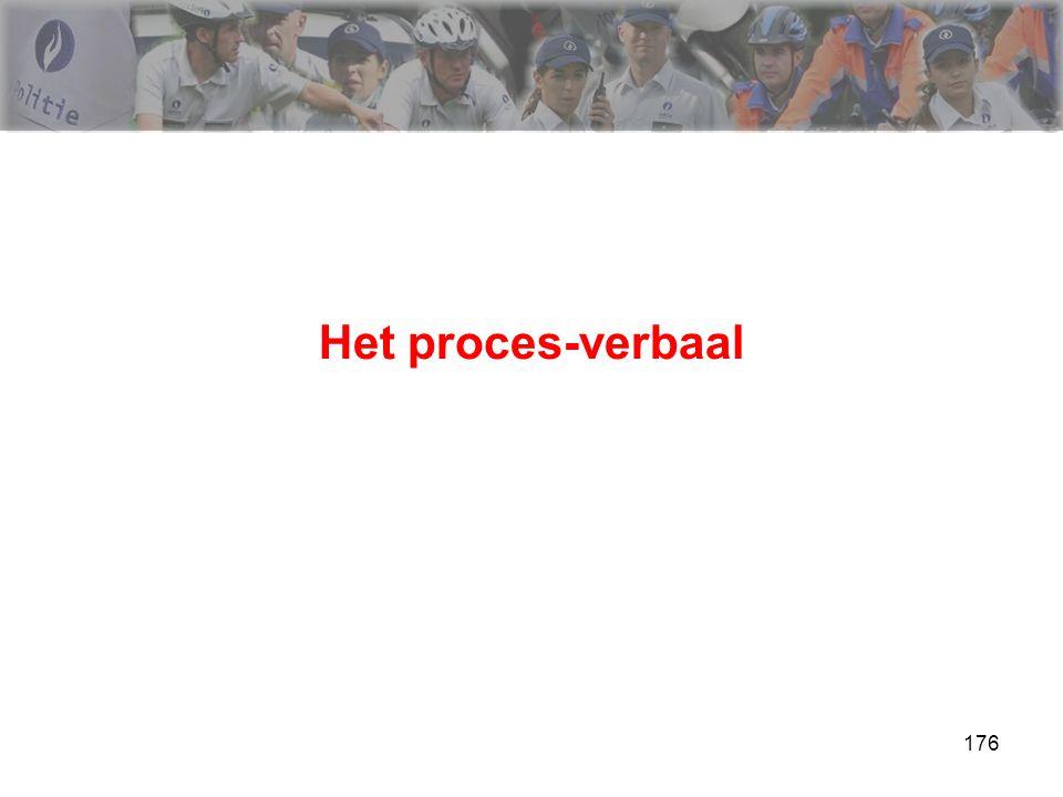 177 Het proces-verbaal Bespreking >>> a.d.h.v. cursus