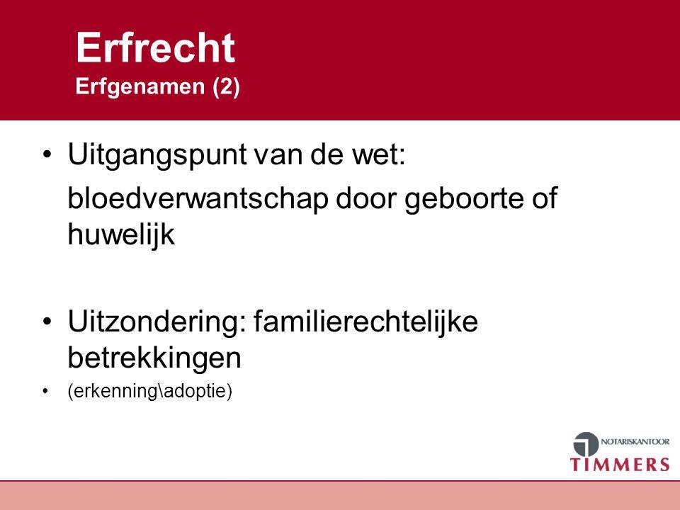 Erfrecht Erfgenamen (3) Erfgenamen op grond van de wet - echtgenoot en/of kinderen - ouders en/of broers en zussen - grootouders - overgrootouders Kanttekening: plaatsvervulling