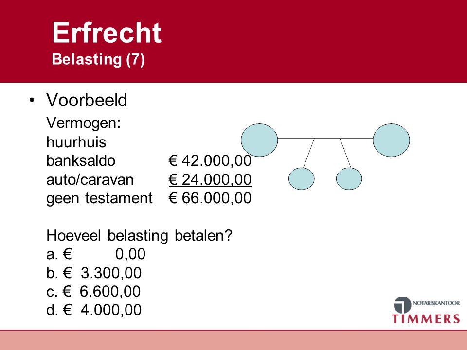 Erfrecht Uitwerking Vermogen is € 66.000,00 Nalatenschap is ½ of€ 33.000,00 3 erfgenamen, ieder 1/3 de of € 11.000,00 Vrijstelling per kind € 19.000,00 Belasting per kind Belasting langstlevende is € 0,00 Antwoord A.