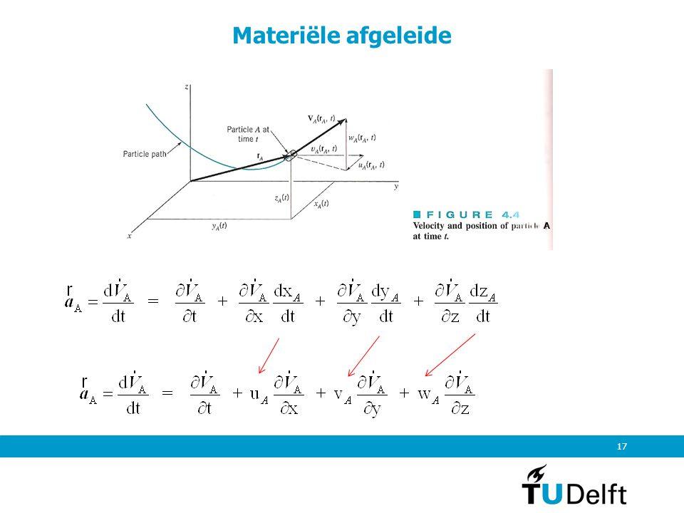 18 Materiële afgeleide Beschouwing geldt voor deeltje A en alle willekeurige andere vloeistofelementjes A