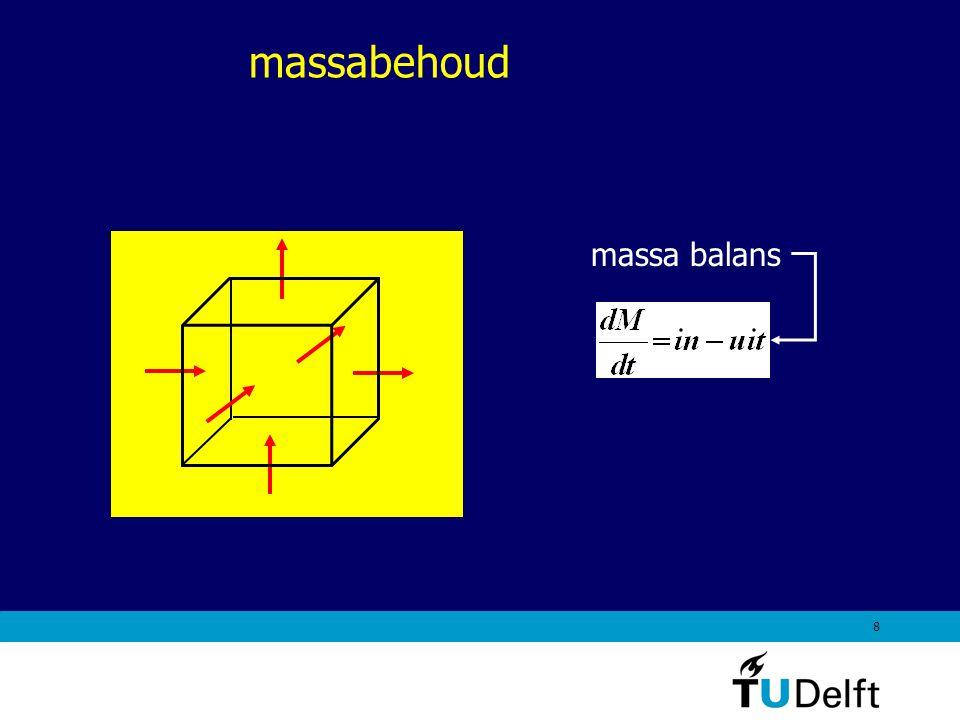 9 Simpele, intuïtieve afleiding van massabehoud Mass flow rate:(kg/s) Q = volume flow rate (m 3 /s) A = in/uitstroomoppervlakte (m 2 ) V = gemiddelde snelheid loodrecht op het in/uitstroomoppervlak (m/s) source: Munson et al