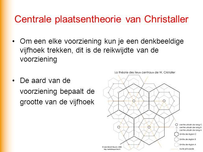 Centrale plaatsentheorie van Christaller Voorwaarden: Iedereen binnen een vijfhoek kiest voor de dichtstbijzijnde voorziening Iedereen is bereid even ver te reizen Er zijn geen hindernissen