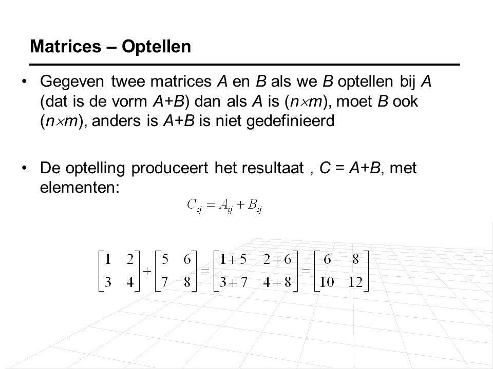 Gegeven twee matrices A en B als we B vermenigvuldigen met A (dat is de vorm AB) dan als A (n  m) is, moet B (m  p) zijn, d.w.z.