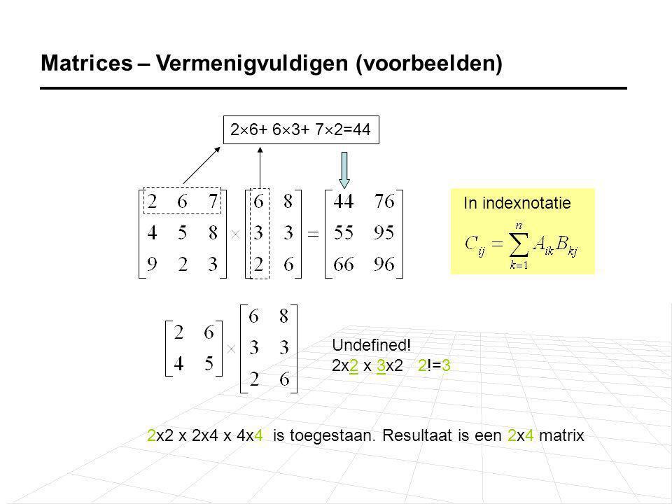 Er geldt AB ≠ BA Matrix vermenigvuldiging is additief: A(B+C) = AB + AC Eenheidsmatrix voor vermenigvuldiging is I.