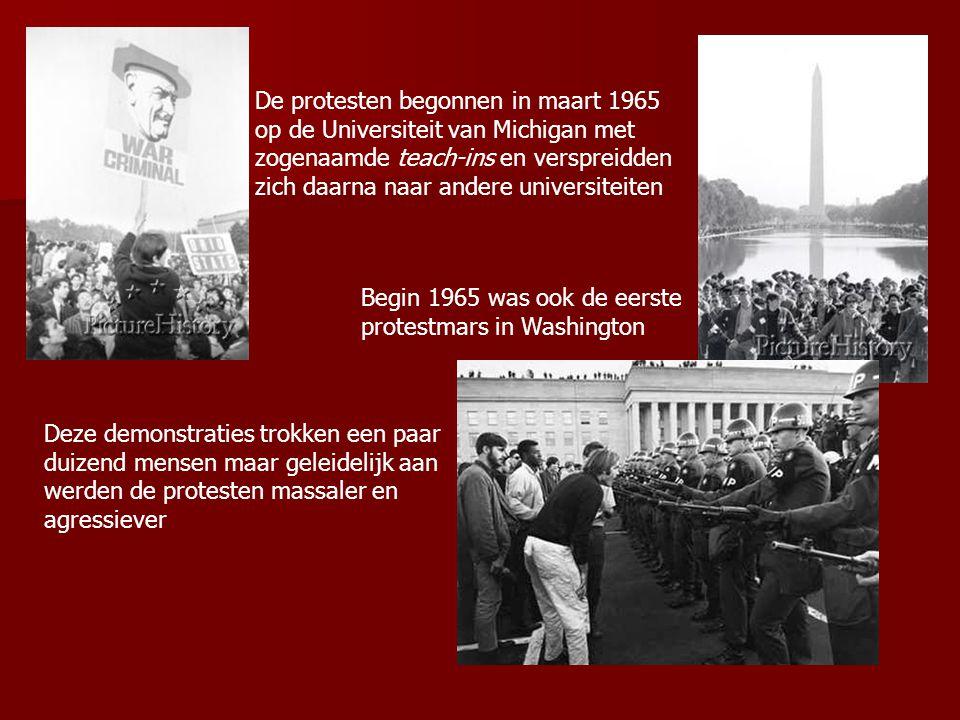 De protesten bereikten een hoogtepunt in 1968 toen enkele demonstraties uitliepen op veldslagen met ordetroepen Daarna werd het rustiger omdat Nixon begon met het terugtrekken van troepen uit Vietnam maar afhankelijk van de situatie in Vietnam laaiden de protesten regelmatig weer fel op